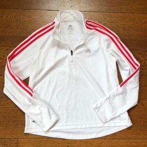 Adidas Climalite Quarter Zip Pullover Arm Stripes